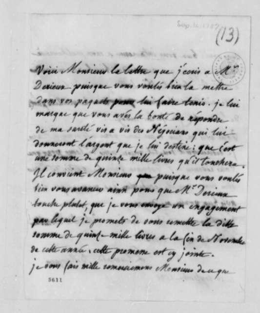 Madame Plumard de Bellanger to Thomas Jefferson, September 16, 1787, in French
