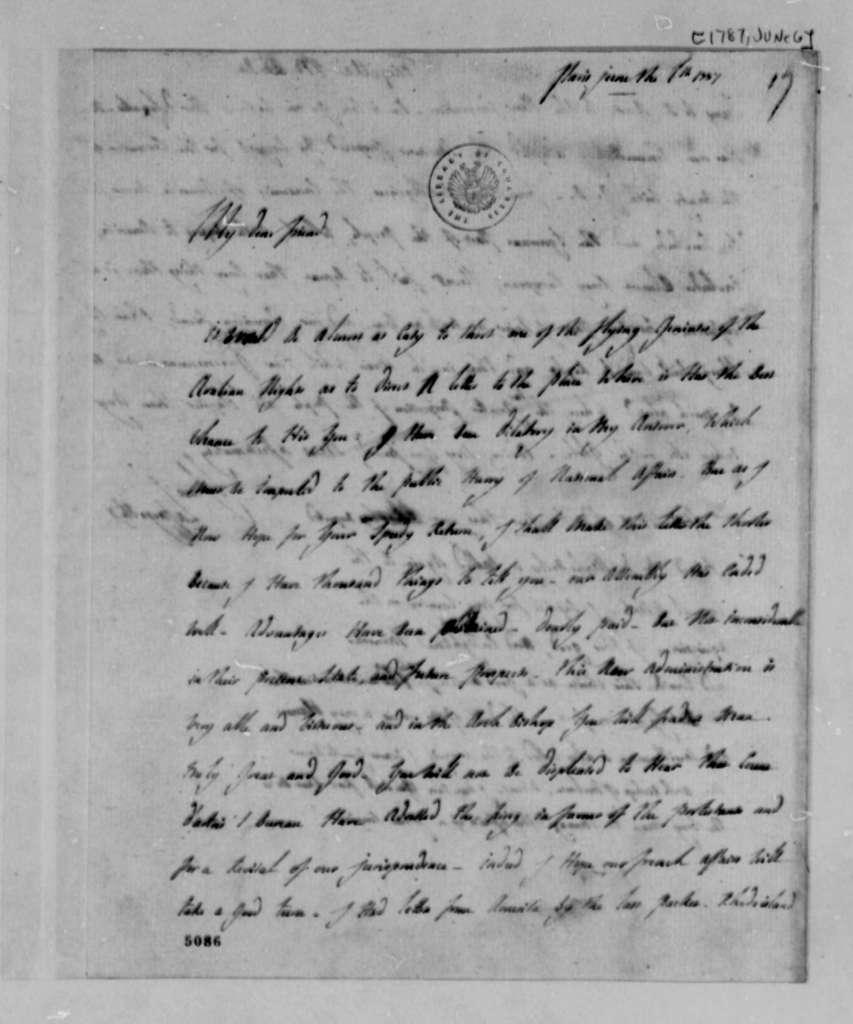 Marie Joseph Paul Yves Roch Gilbert du Motier, Marquis de Lafayette to Thomas Jefferson, June 6, 1787