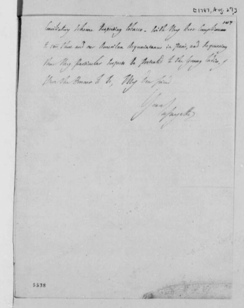 Marie Joseph Paul Yves Roch Gilbert du Motier, Marquis de Lafayette to Thomas Jefferson, August 27, 1787