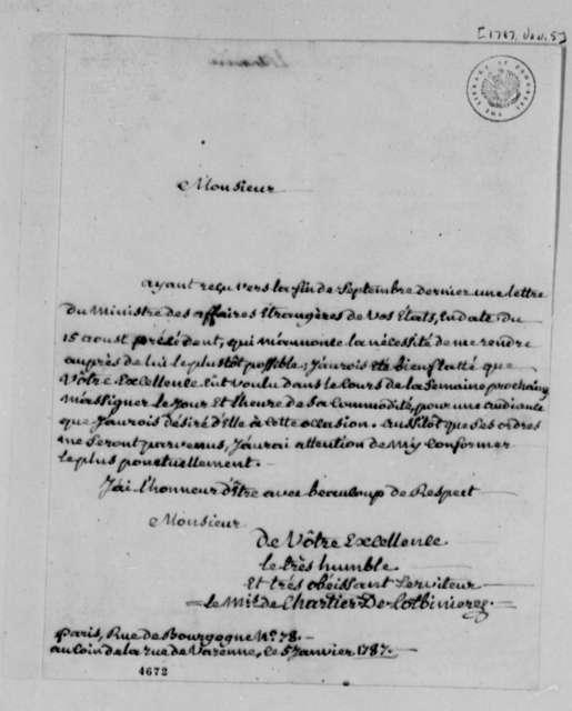 Marquis de Chartier de Lotbiniere to Thomas Jefferson, January 5, 1787, in French