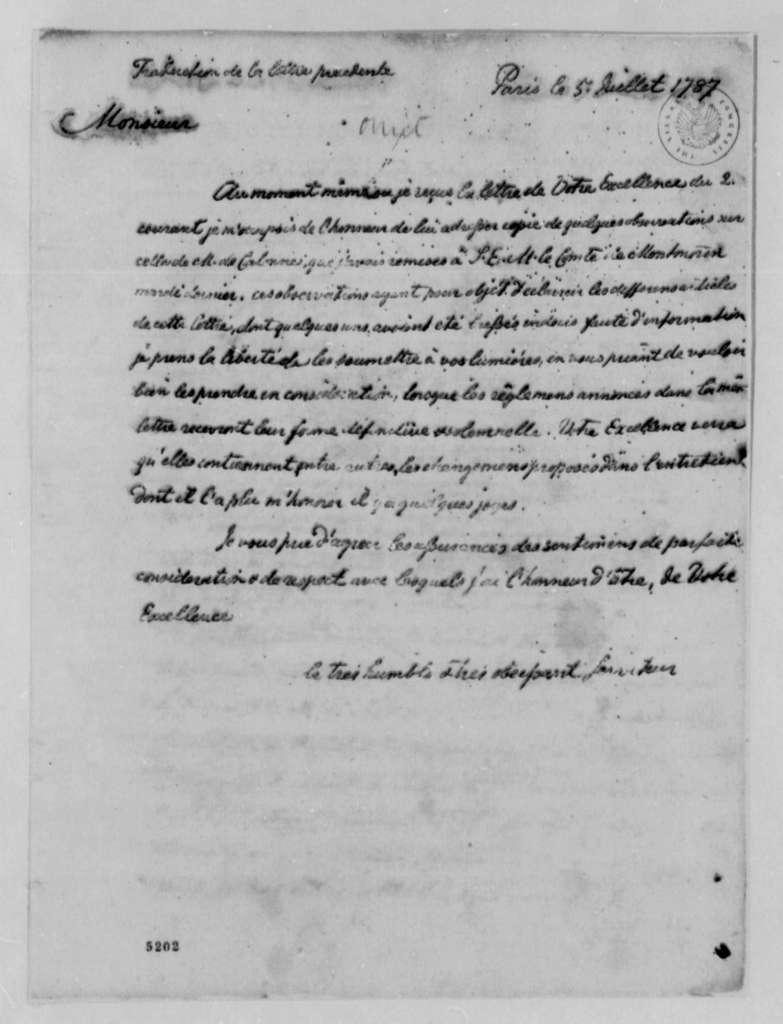 Marquis de Villedeuil to Thomas Jefferson, July 5, 1787