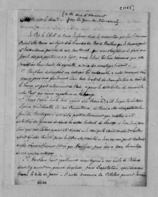 Michel Guillaume Jean de Crevecoeur (John Hector St. John) to Duke d'Harcourt, 1787, in French
