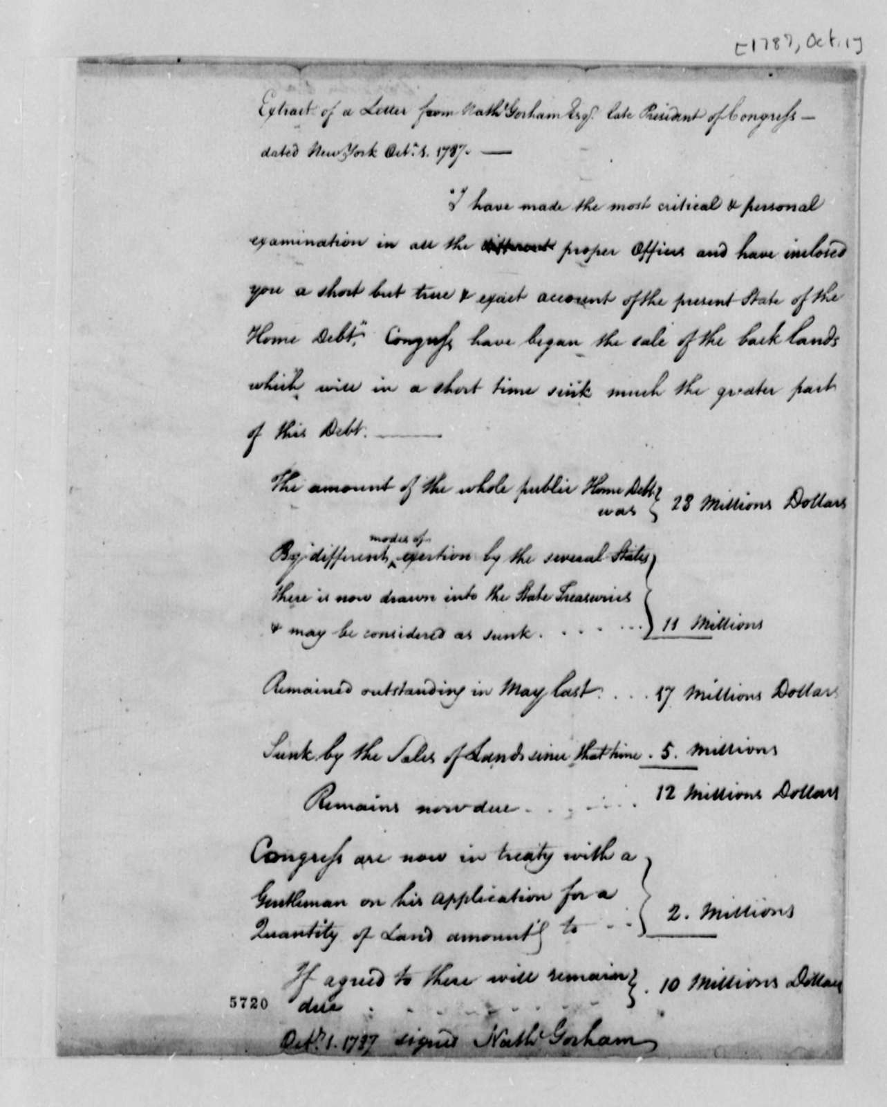 Nathaniel Gorham to Thomas Jefferson, October 1, 1787, Extract from Account of United States Domestic Debt