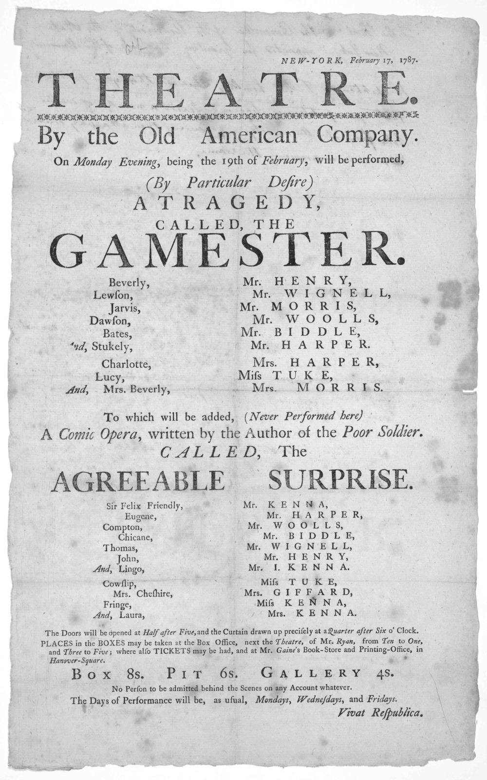 New-York, February 17, 1787. Theatre. By the Old American Company. On Monday evening, being the 19th of February, will be performed (By Particular desire) A tragedy called the Gamester ... [New York, 1787].