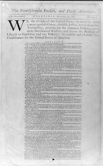 [Newspaper articles and notices printed in 1787 during the Constitutional Convention in Phila.]