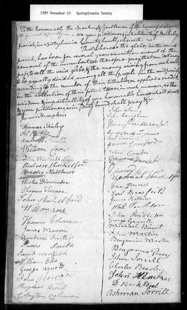 November 10, 1787, Spotsylvania, Berkeley Parish, for permission to sell glebe.