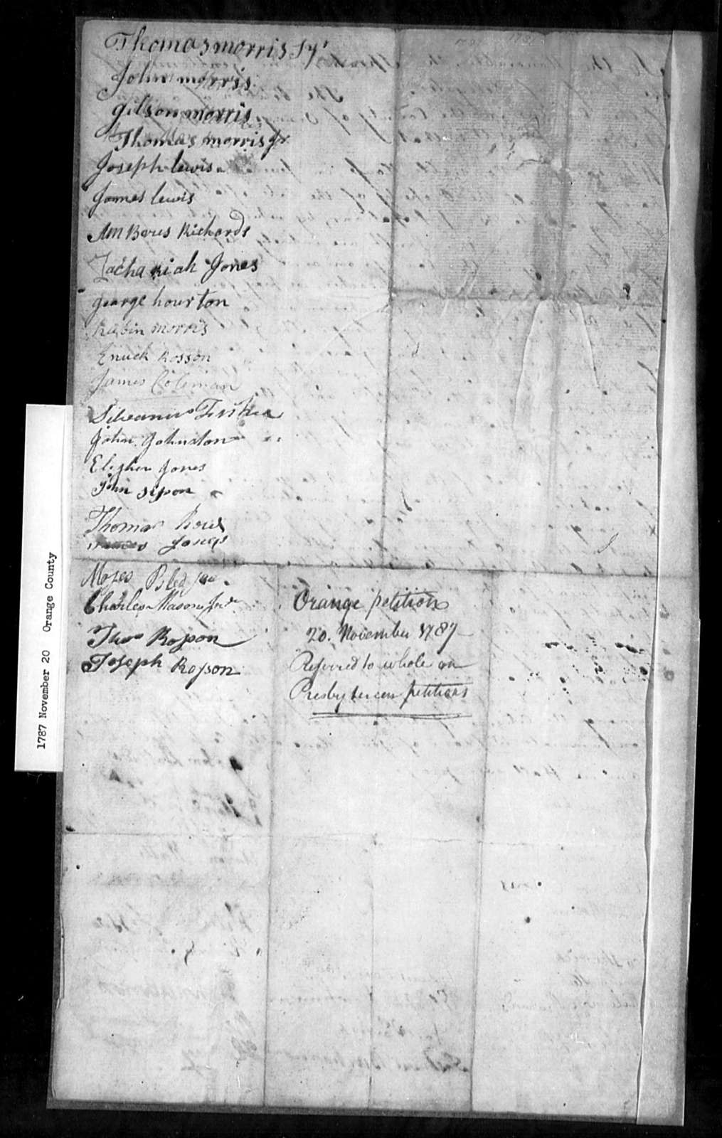 November 20, 1787, Orange, St. Thomas' Parish, for sale of glebes.