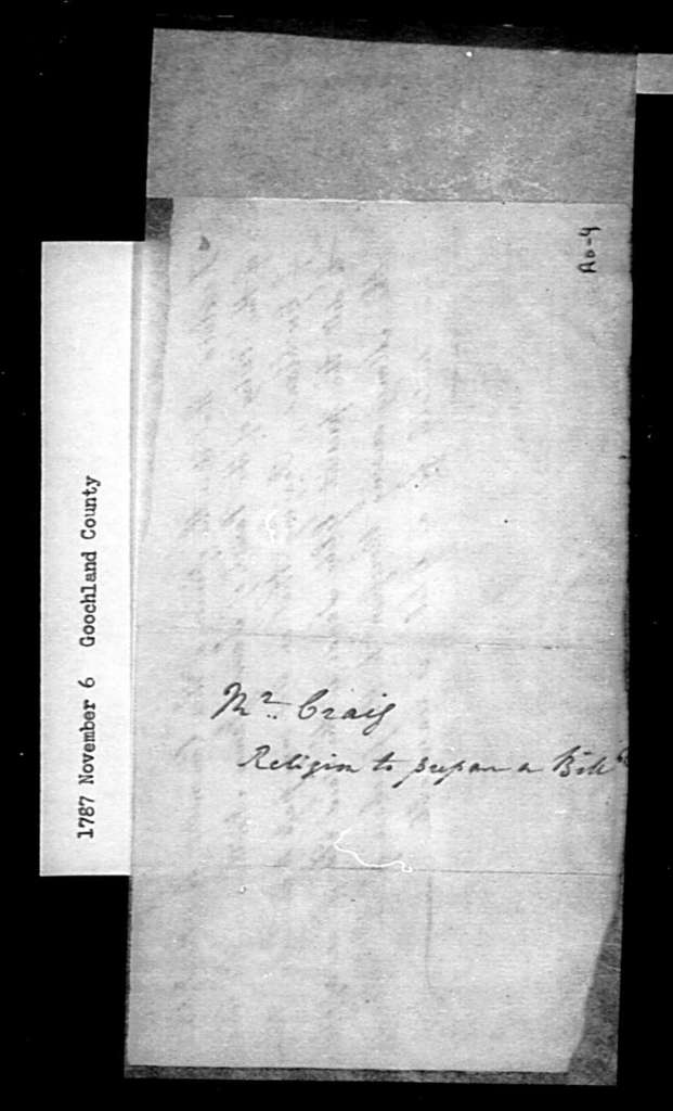 November 6, 1787, Goochland, St. James' Northam Parish, for permission to sell glebe.