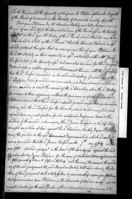 October 23, 1787, Accomack, Charles Bagwell of Accomack Parish, to levy upon inhabitants of Parish a legal judgment he incurred while Parish trustee.