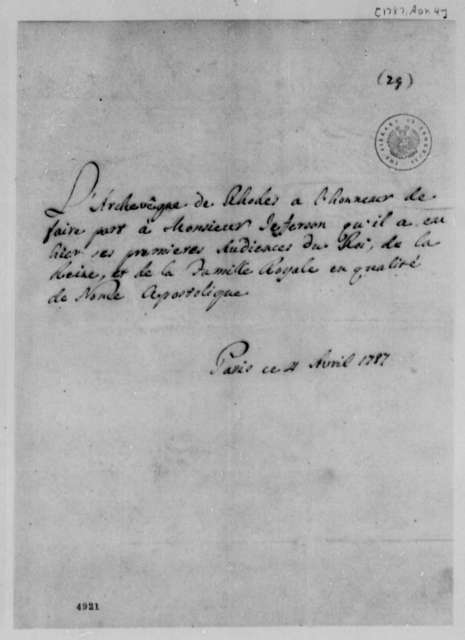 Papal Nuncio to Thomas Jefferson, April 4, 1787, in French