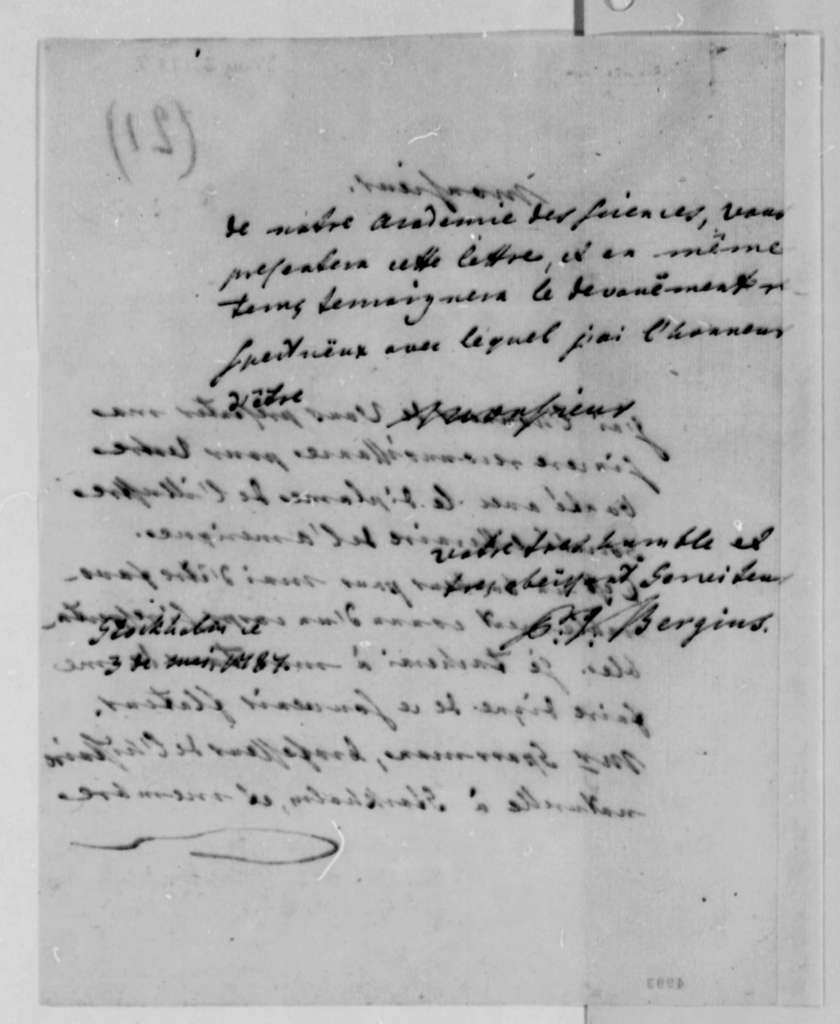 Peter J. Bergius to Thomas Jefferson, May 3, 1787, in French