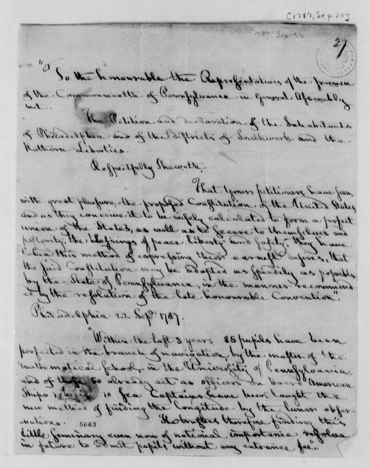 Philadelphia Area Citizens to Pennsylvania General Assembly, September 22, 1787, Petition Extracts on United States Constitution, etc.