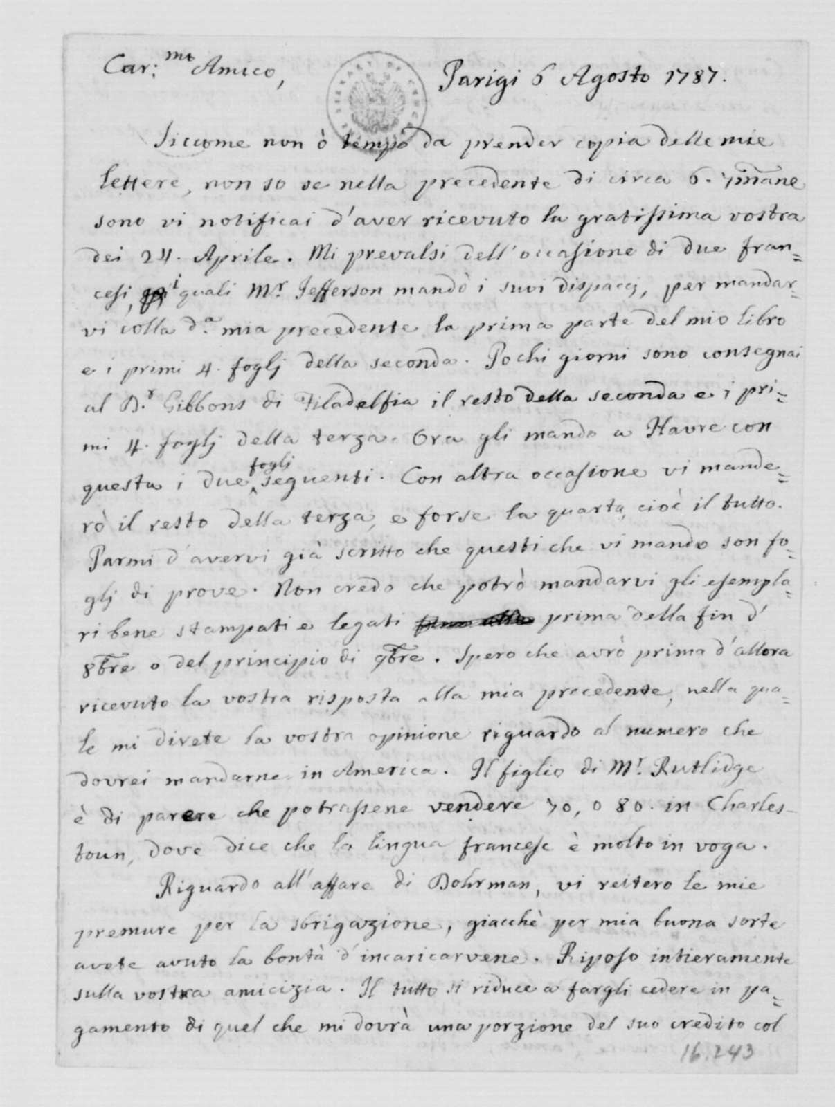Philip Mazzei to James Madison, August 6, 1787. In Italian.