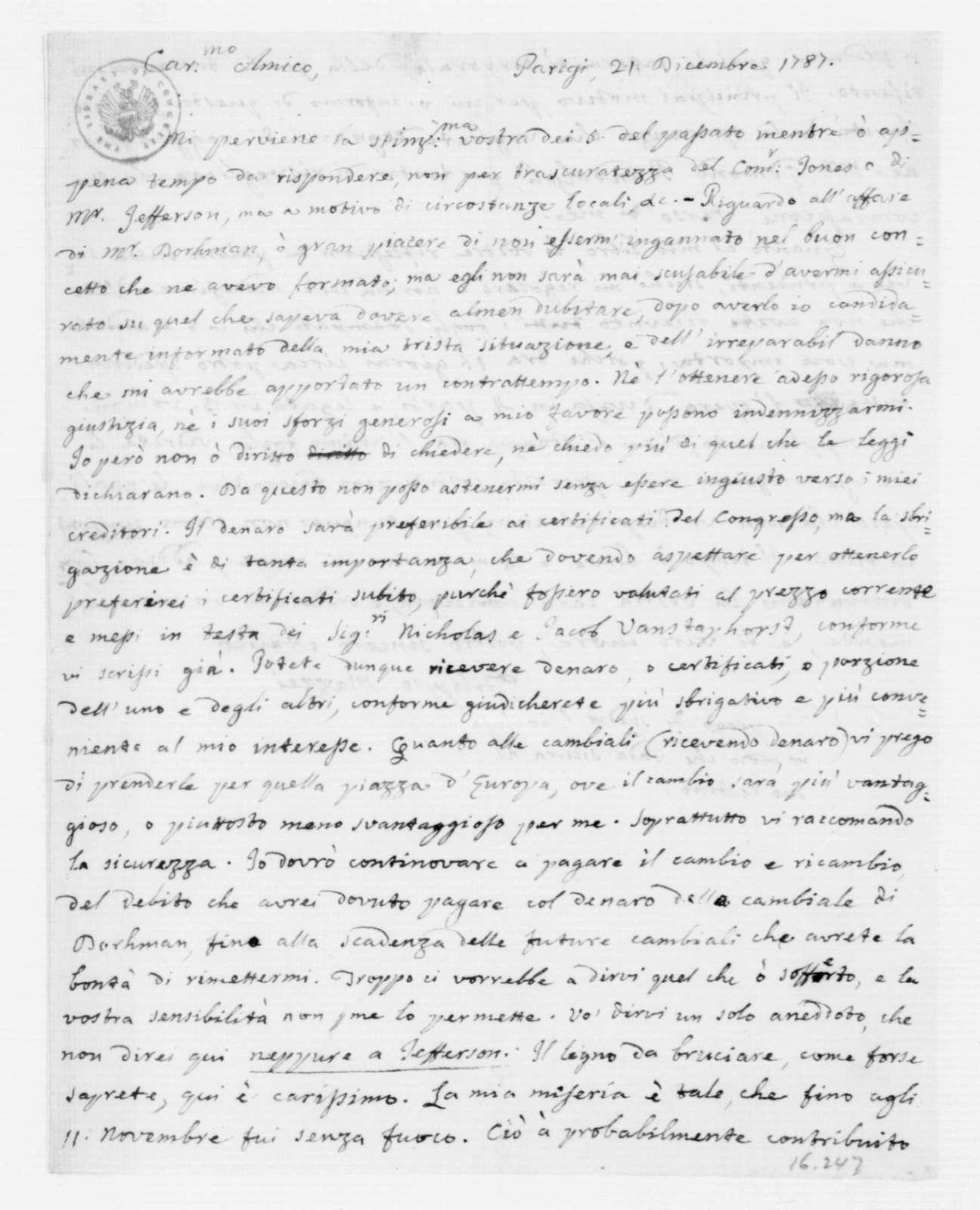 Philip Mazzei to James Madison, December 21, 1787. In Italian.