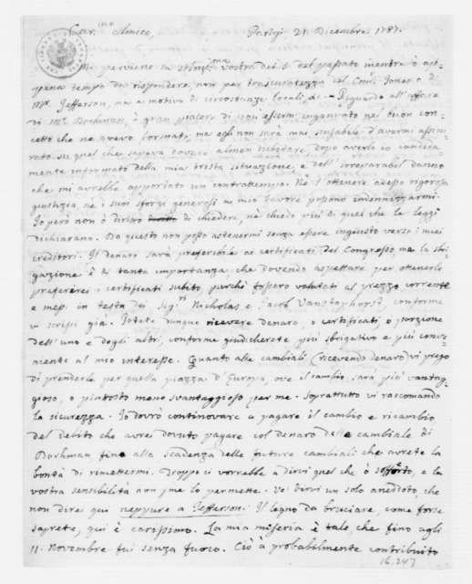 Philip Mazzei to James Madison, December 21, 1787. In Italian.