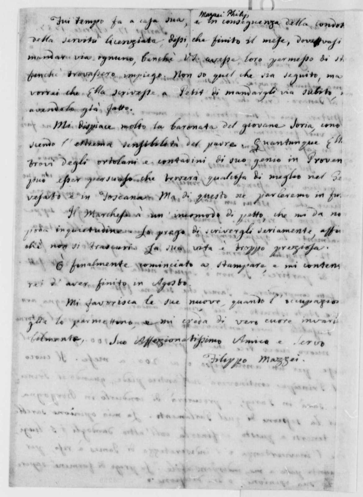 Philip Mazzei to Thomas Jefferson, April 17, 1787, in Italian