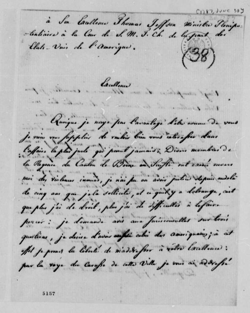 Pierre Bon to Thomas Jefferson, June 30, 1787, in French