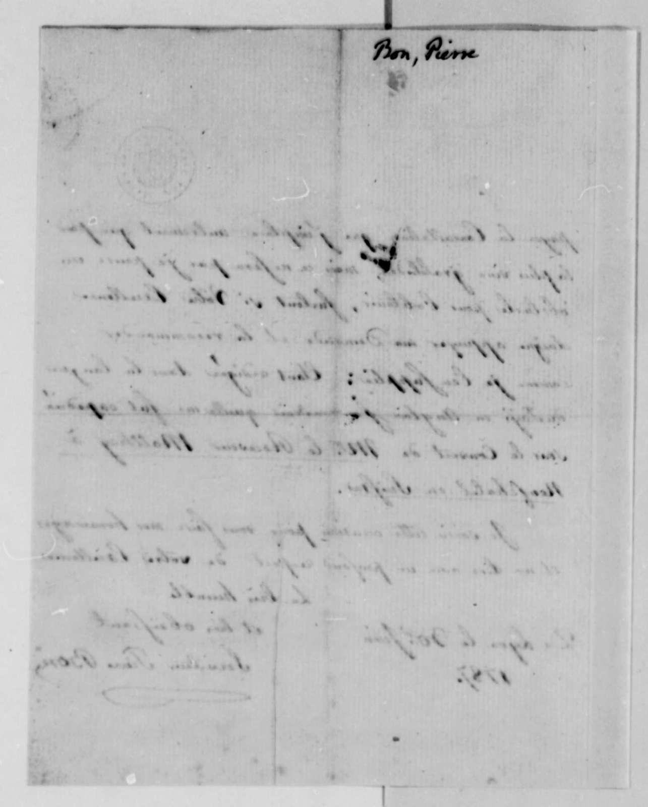 Pierre Bon to Thomas Jefferson, June 30, 1787, in French
