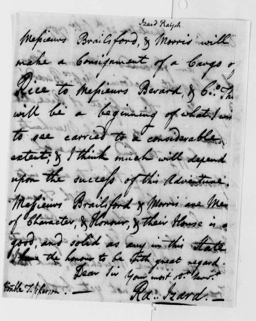 Ralph Izard to Thomas Jefferson, October 20, 1787