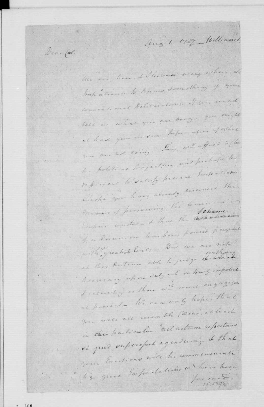 Rev. James Madison to James Madison, August 1, 1787.