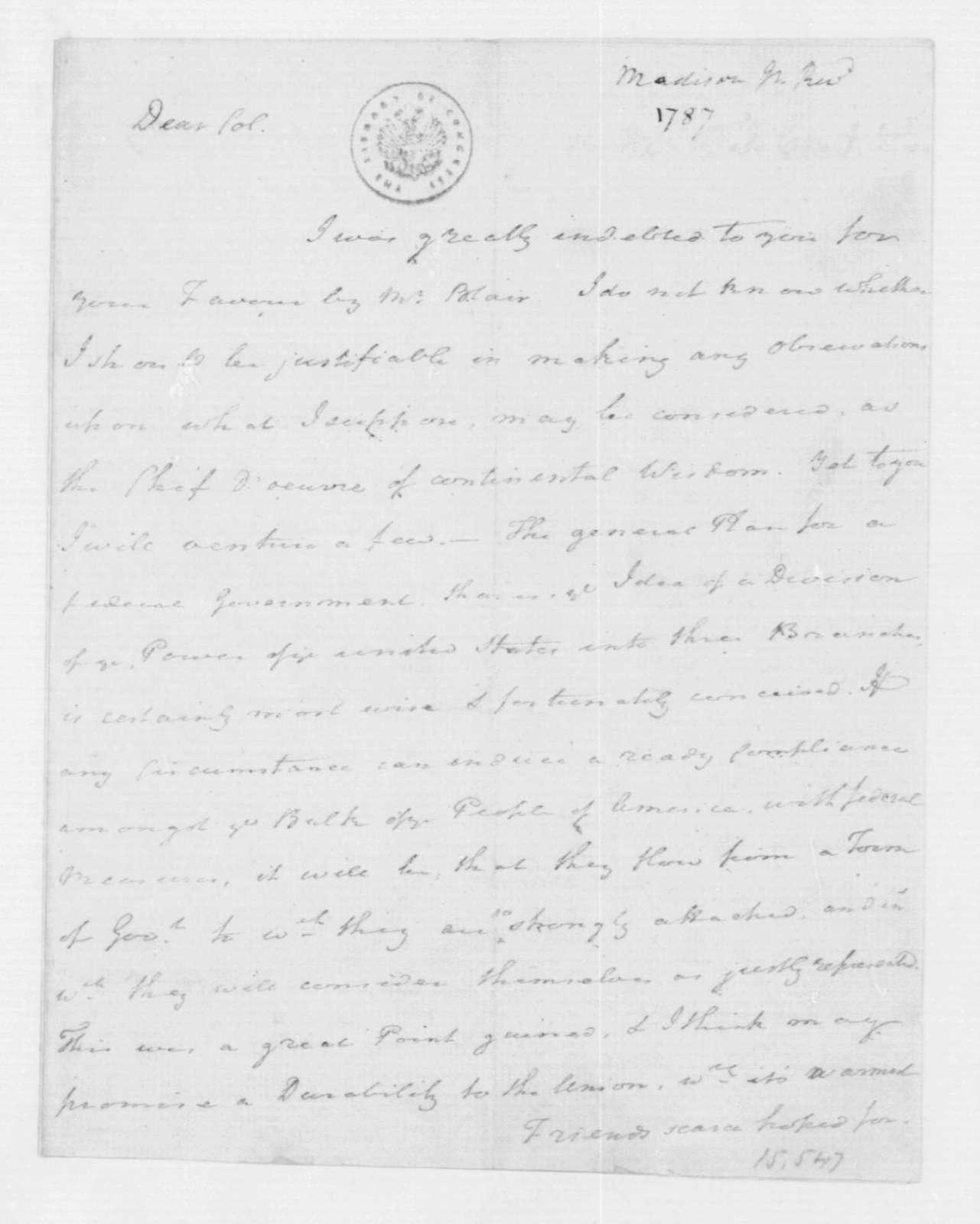 Rev. James Madison to James Madison. October 1, 1781.