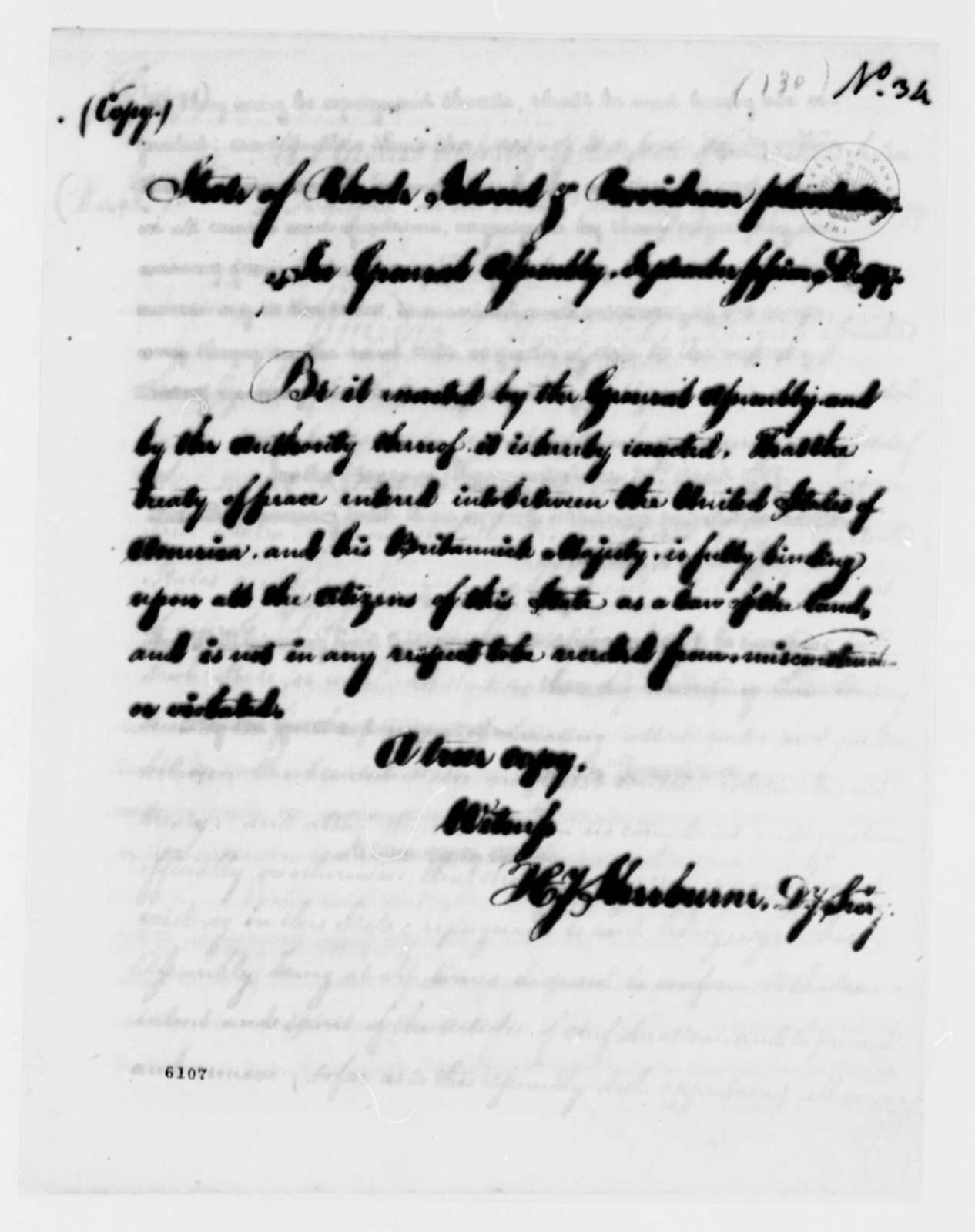 Rhode Island General Assembly, September 1787, Act