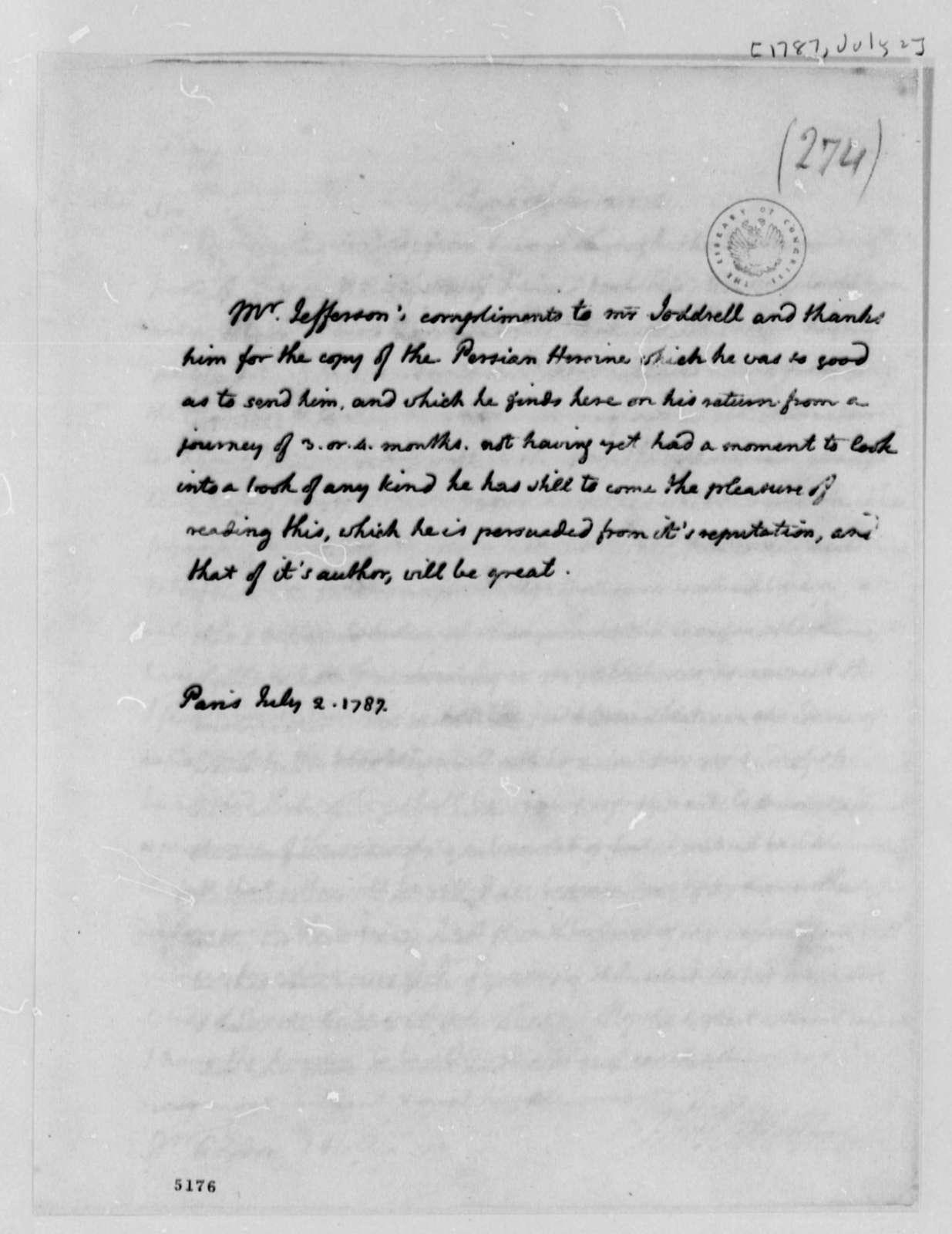 Richard Paul Jodrell to Thomas Jefferson, July 2, 1787
