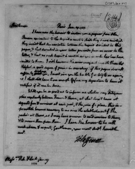 Robert and Anthony Garvey to Thomas Jefferson, January 29, 1787