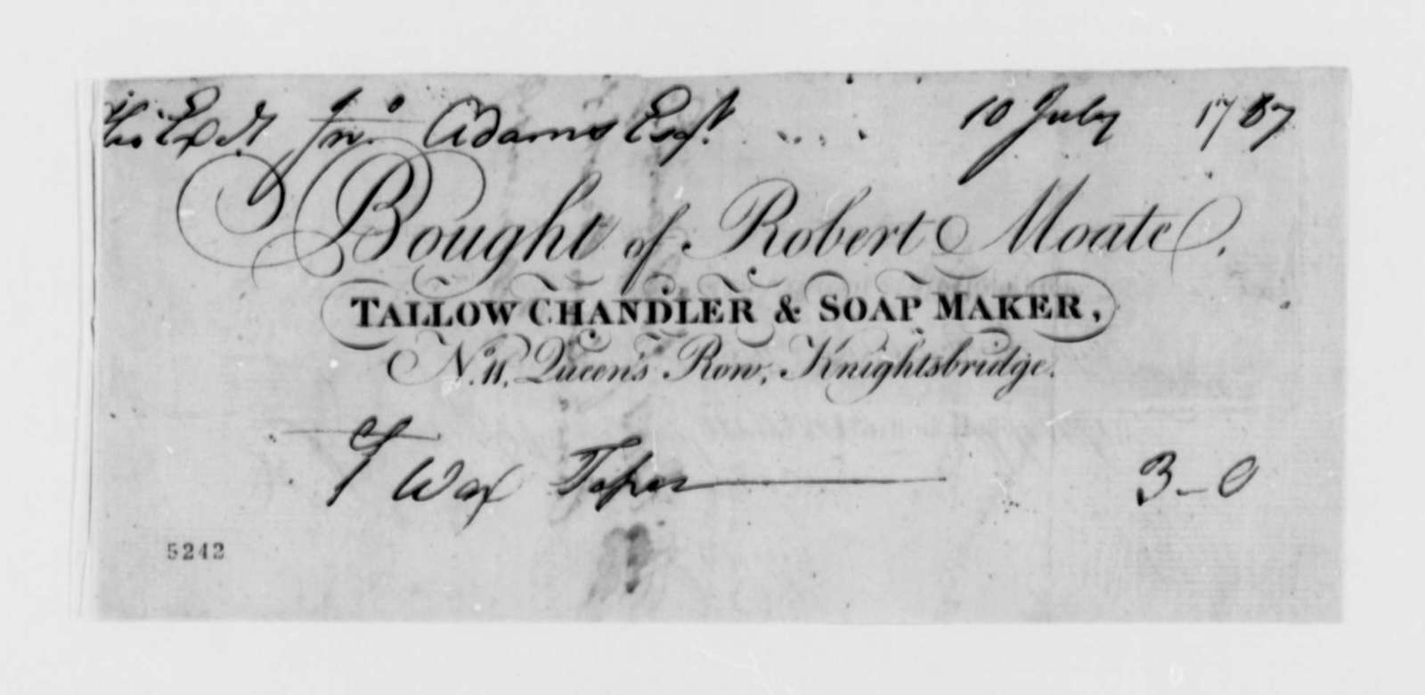 Robert Moate to John Adams, July 10, 1787, Receipt for Wax Taper
