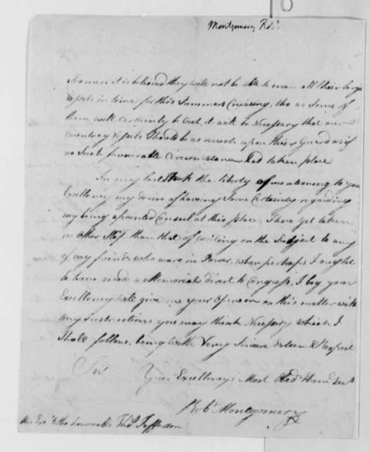 Robert Montgomery to Thomas Jefferson, August 25, 1787