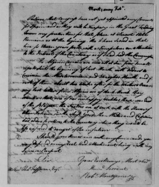Robert Montgomery to Thomas Jefferson, May 22, 1787