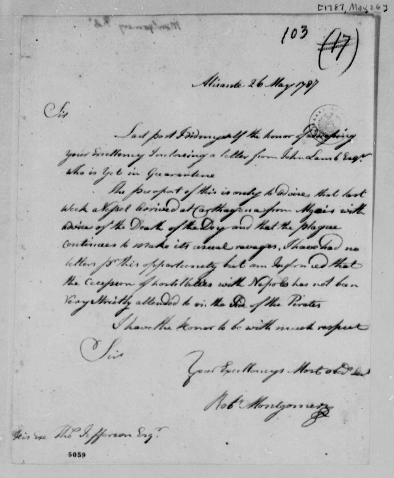 Robert Montgomery to Thomas Jefferson, May 26, 1787