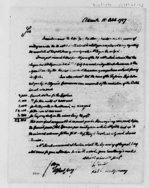 Robert Montgomery to Thomas Jefferson, October 15, 1787, with Copy