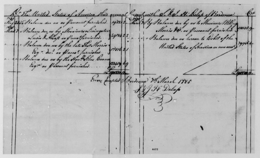 S. & J. H. Delap to Thomas Jefferson, January 6, 1787, with Account of Money the United States