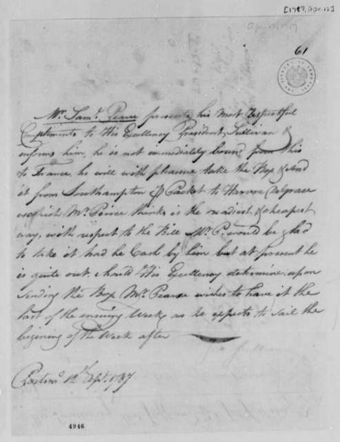 Samuel Pearce to John Sullivan, April 12, 1787