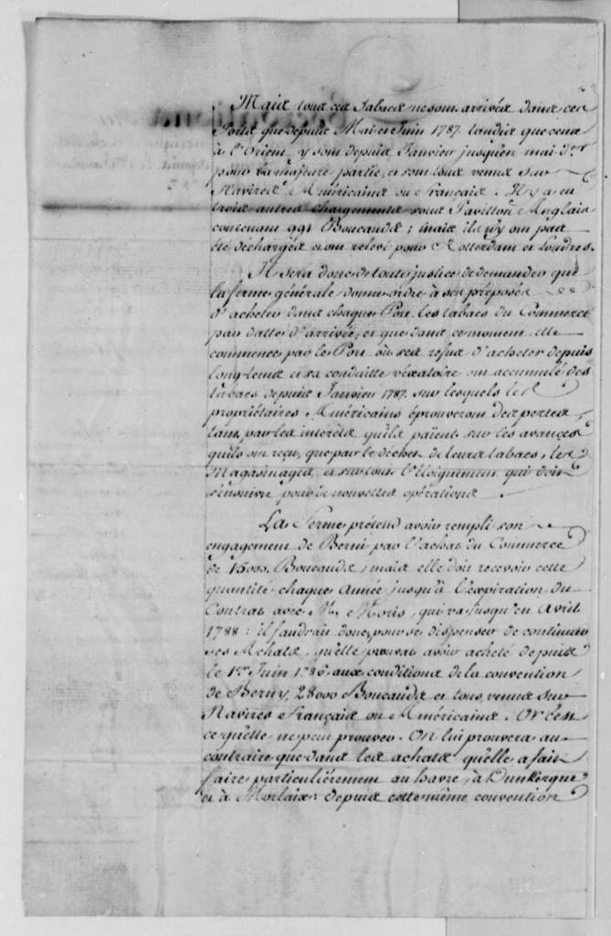 Simon Berard, October 1787, Additional Observations on Tobacco Trade between the United States and France; in French