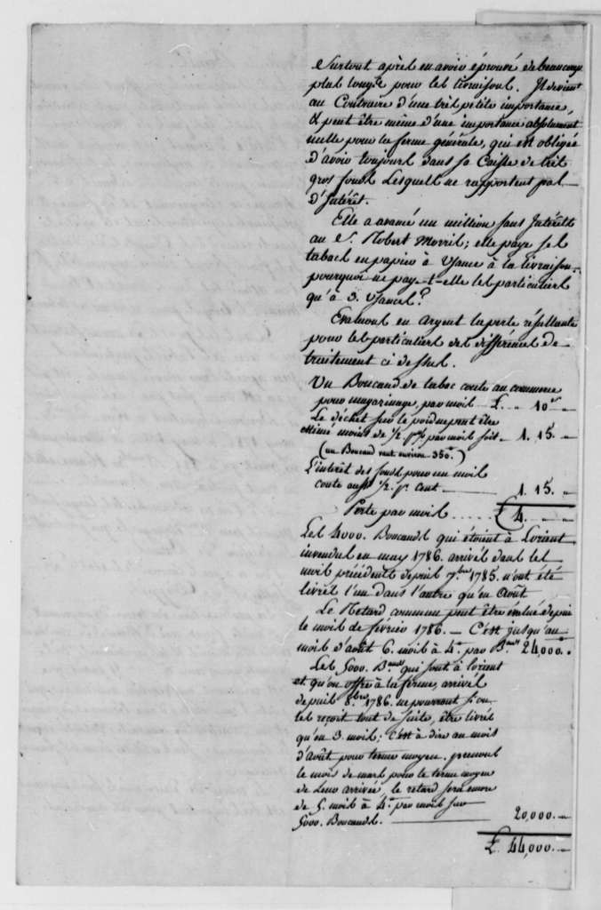 Simon Berard, September 1787, Observations on Tobacco Trade between the United States and France; in French