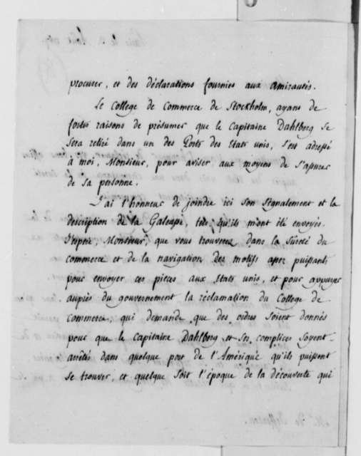 Stael de Holstein to Thomas Jefferson, August 3, 1787, in French; with Copies