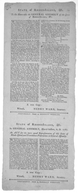 State of Rhode-Island, &c. To the Honorable the General Assembly of the State of Rhode Island, &c. Whereas the subscribers, were by the Honorable General Assembly of said State at their session at Providence, in October last, appointed a Committ