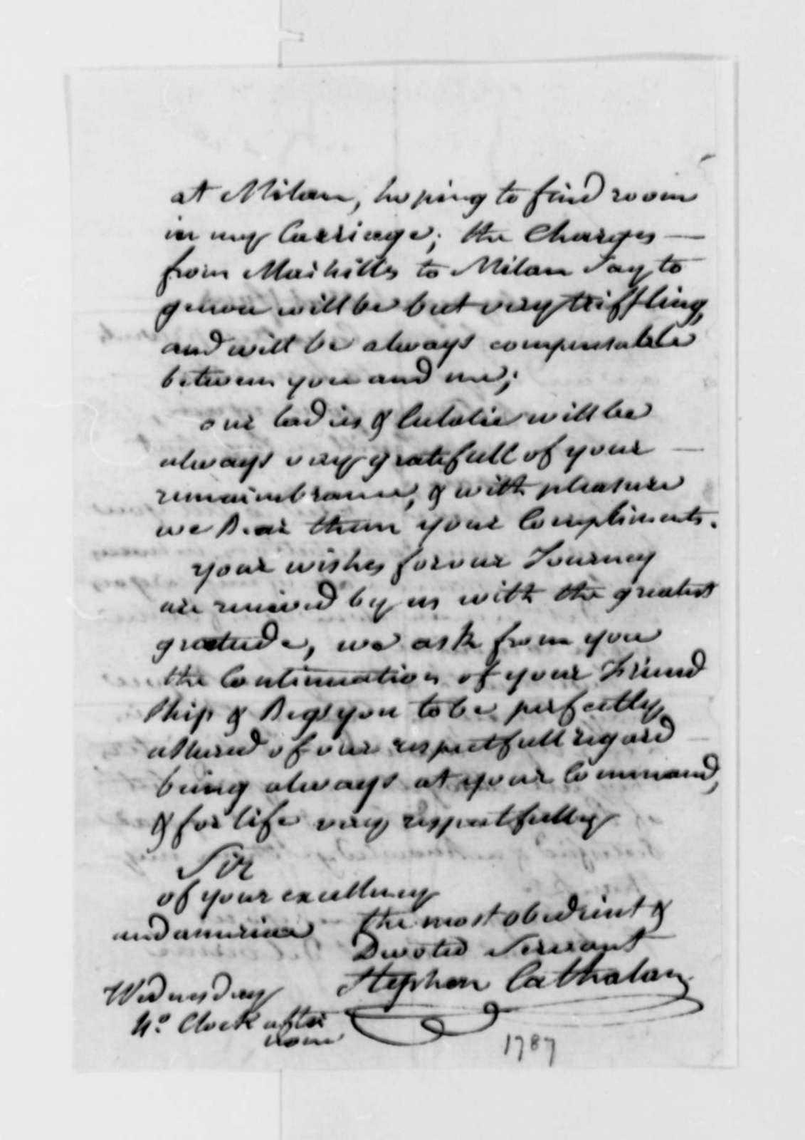 Stephen Cathalan Jr. to Thomas Jefferson, July 1787
