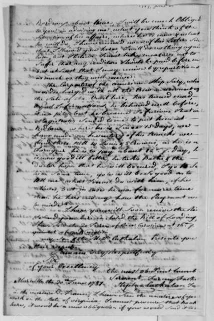 Stephen Cathalan Jr. to Thomas Jefferson, June 30, 1787, with Bill of Lading for Levant and Piedmont Rice