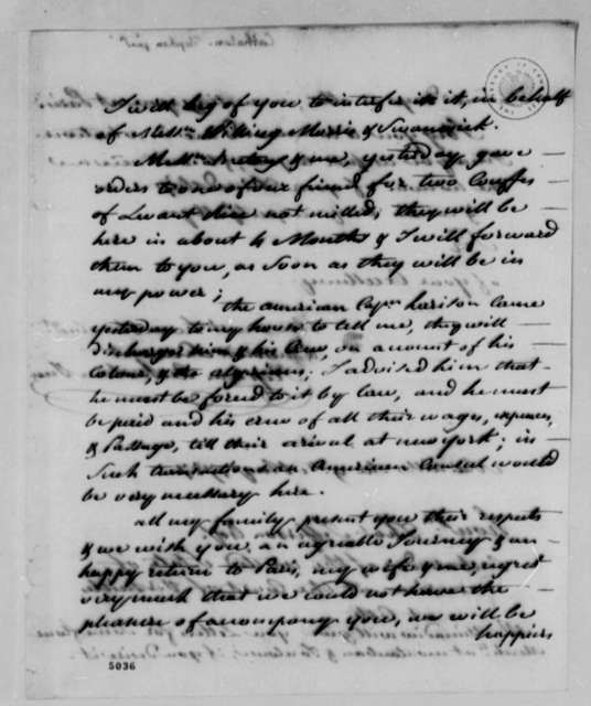 Stephen Cathalan Jr. to Thomas Jefferson, May 9, 1787