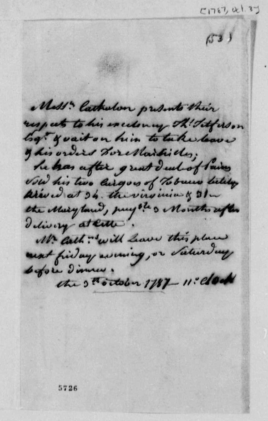 Stephen Cathalan Jr. to Thomas Jefferson, October 3, 1787