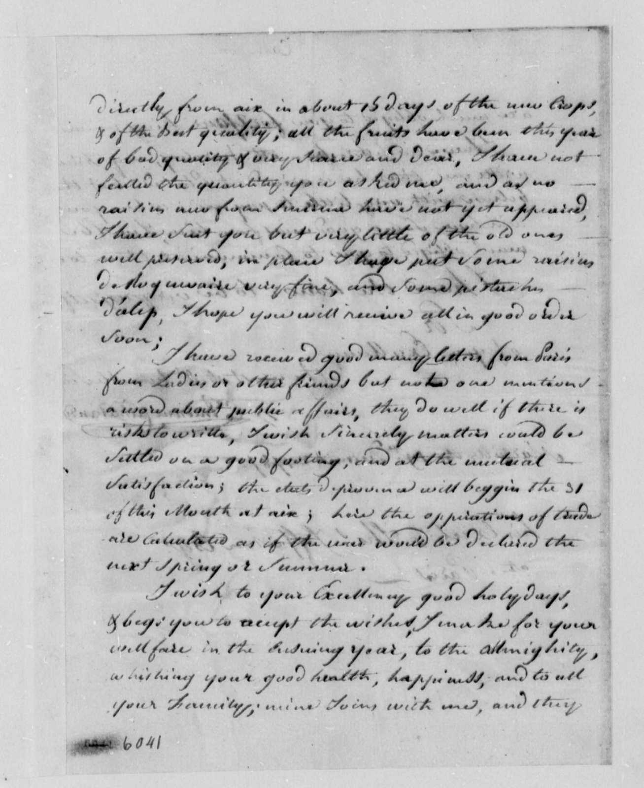 Stephen Cathalan, Sr. to Thomas Jefferson, December 19, 1787
