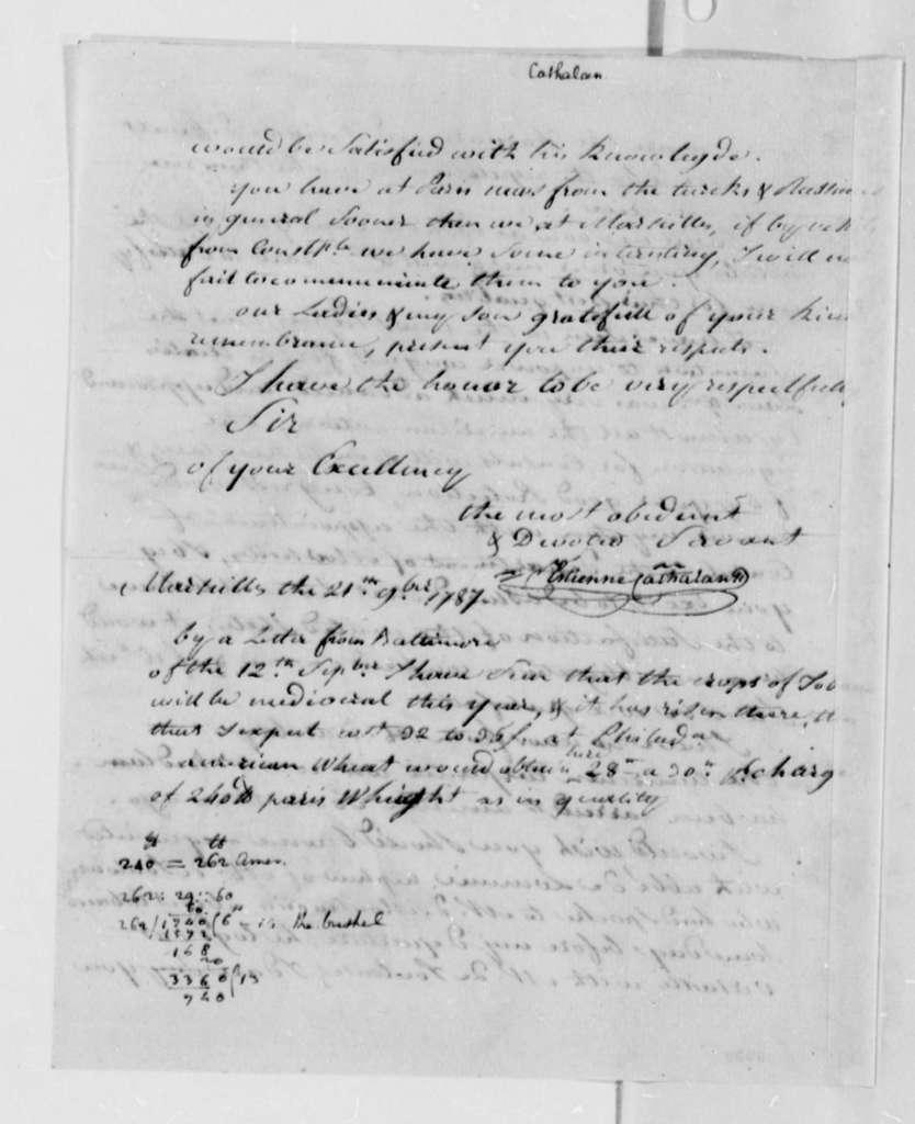 Stephen Cathalan, Sr. to Thomas Jefferson, November 21, 1787