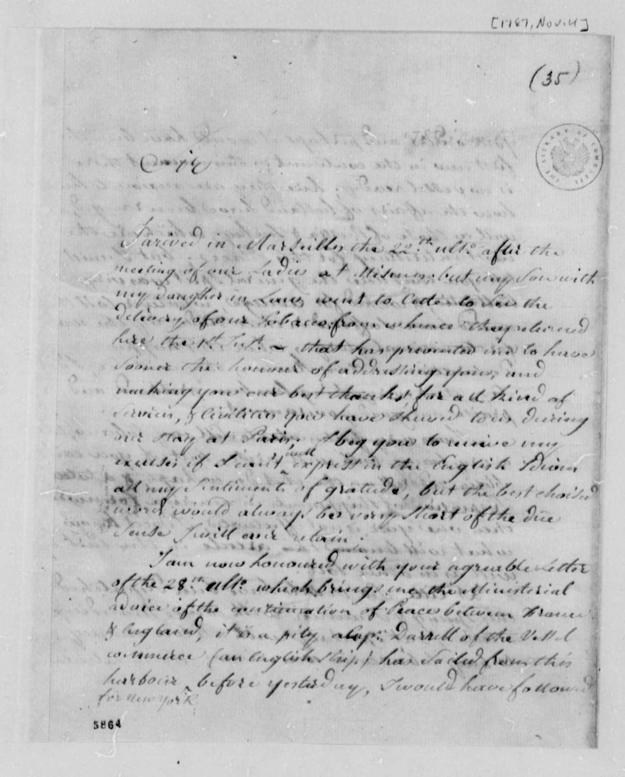 Stephen Cathalan, Sr. to Thomas Jefferson, November 4, 1787