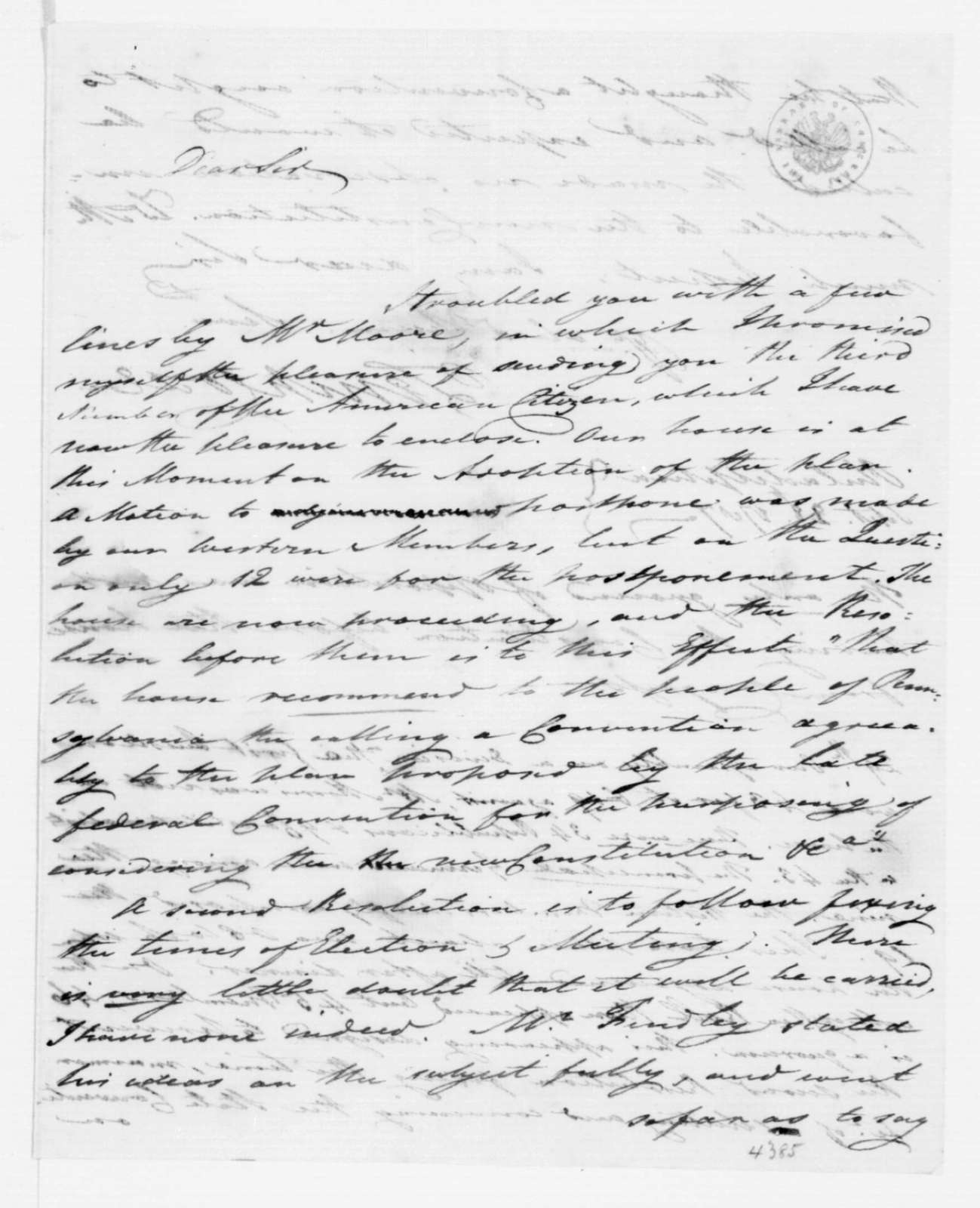 Tench Coxe to James Madison, September 28, 1787.