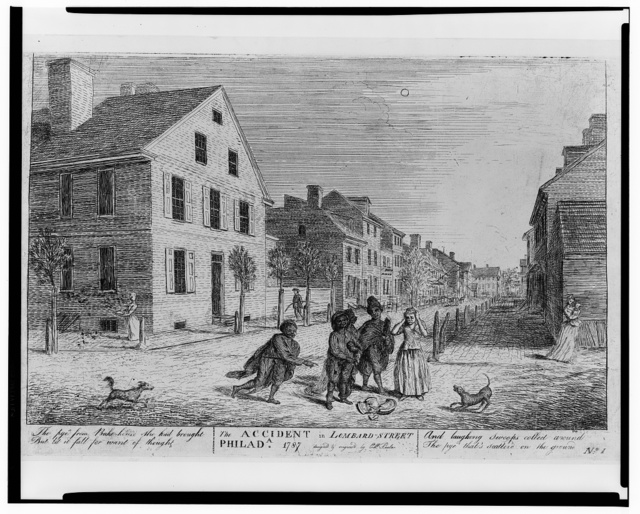 The accident in Lombard Street Philada. 1787 / design'd and engraved by C.W. Peale.
