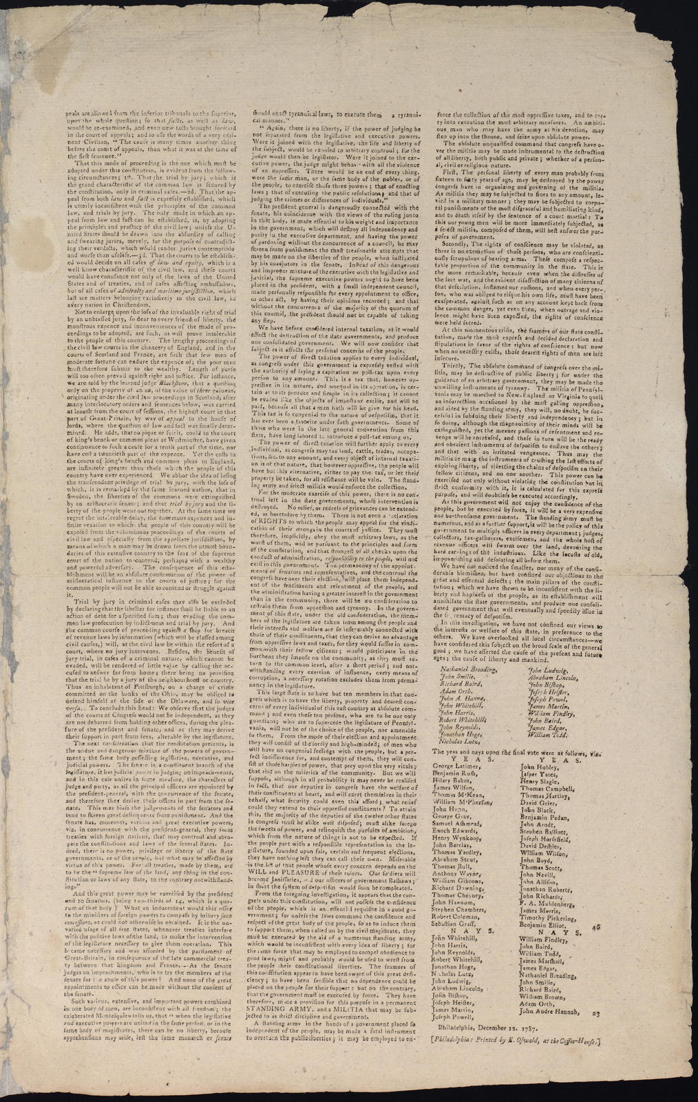The Address and reasons of dissent of the minority of the convention, of the state of Pennsylvania, to their constituents.