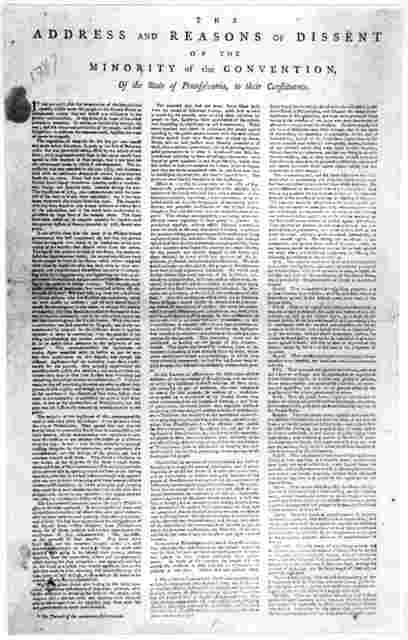 The address and reasons of dissent of the minority of the convention of the state of Pennsylvania, to their constituents. [Dated] Philadelphia. December 12, 1787. Philadelphia: Printed by E. Oswald, at the Coffee-House, [1787] [Positive Photosta